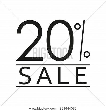 20% Sale. Price Off Icon With 20 Percent Discount. Vector Illustration.
