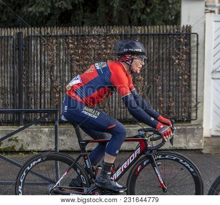 Meudon, France - March 4, 2018: The Slovenian Cyclist Luka Pibernik Of Team Bahrain-merida Riding Wi