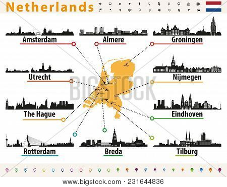 Netherlands Map With Largest Cities Skylines Silhouettes
