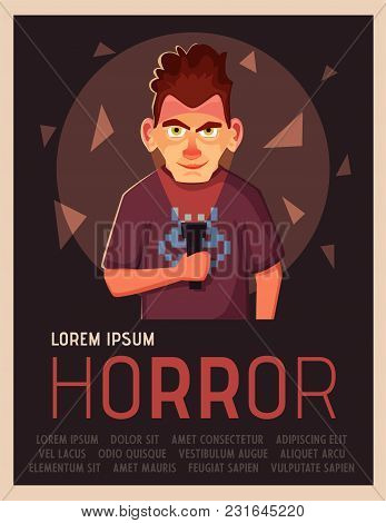Crazy Man Highlights His Face With Flashlight. Person In The Dark. Cartoon Vector Illustration. Mani