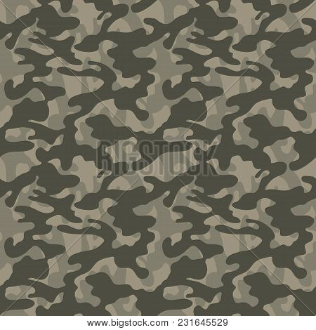 Camouflage Pattern. Fashionable Military Print. Seamless Vector Army Of Green Hunt Background. Textu