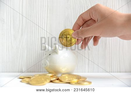 Investment With Bitcoin New Virtual Electronic Digital Money.   Hand Put Btc Coin In A White Piggy.