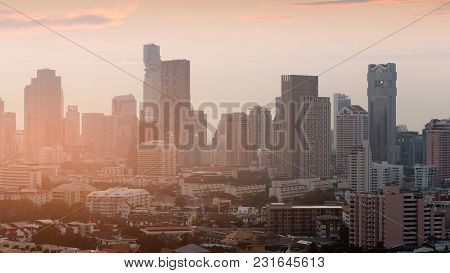Office Building City Business Downtown Sunset Tone, Cityscape Background
