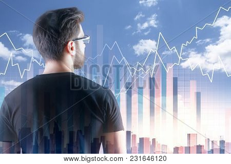 Investment And Analytics Concept. Thoughtful European Businessman On Abstract City Background With B