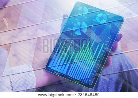 Hands Using Abstract Tablet With Forex Chart On Display. Accounting And Finance Concept. Double Expo