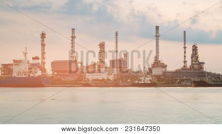 Refinery Water Front Petrol Factory, Industrial Background