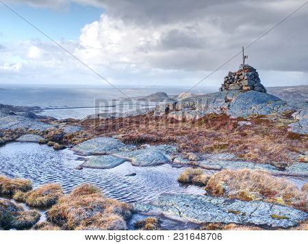 Mountain Peak And Landscape Aerial Sea View From Linesfjellet Summit In Norway,  Islands Scandinavia