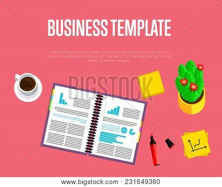 Business Template. Top View Office Workspace, Vector Illustration. Business Workplace With Cactus, P