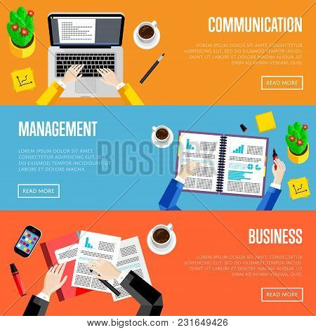 Top View Office Workspace Website Templates, Vector Illustrations. Business People Working At Office