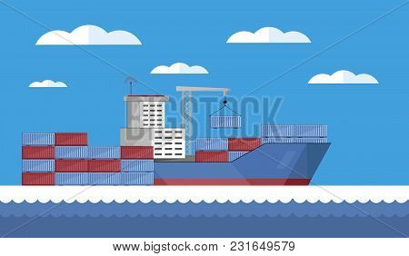 Cargo Vessel With Container Isolated Flat Vector Illustration