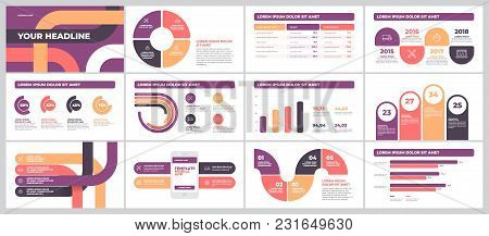 Bussines Presentation Template Design. Data Graphs. Vector Financial And Marketing Charts.