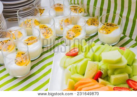 Breakfast Yogurt And Fruit Salad At Spring Festival Picnic Event