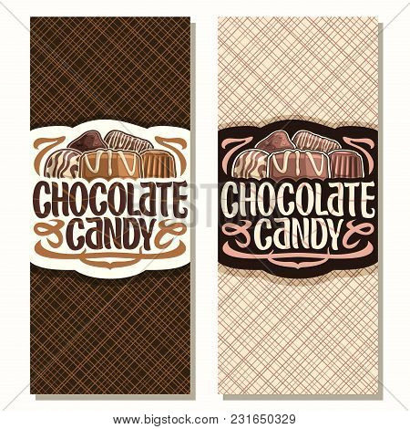 Vector Vertical Banners For Chocolate Candy, Pile Of Swiss Praline, Belgian Bonbons Covered Of Milk