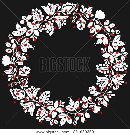 White And Red Laurel Wreath Vector Frame On Black Background