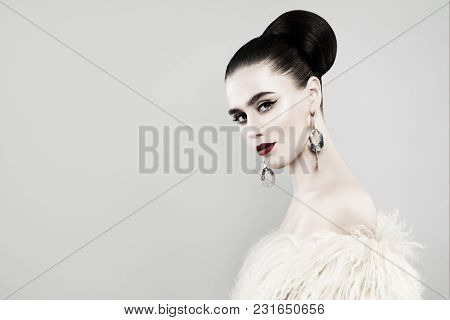 Retro Portrait Of Beautiful Woman On Banner Background
