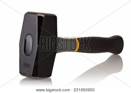 Hammer With Plastic Handle Weighing 1500 Grams, On A White Background