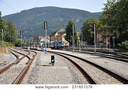 Diesel Locomotive In Station, City Jesenik,czech Republic, Europe