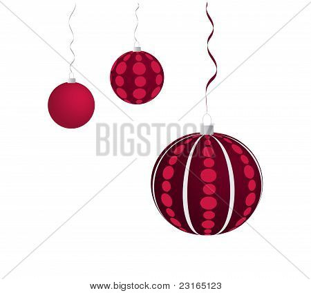 Three violet christmas balls
