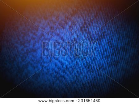 Abstract Binary Code On Computer Screen As Technology Background. It Industry, Cybersecurity And Net