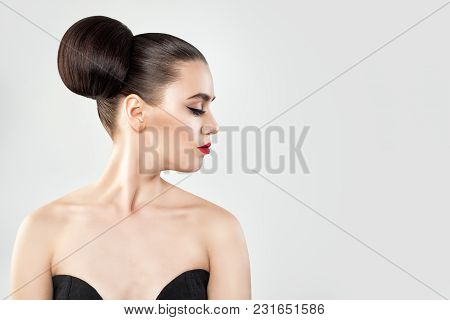 Beautiful Woman With Hair Updo On Background Copy Space, Profile Portrait