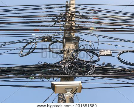 Cable Wire Telephone Line On The Power Poles