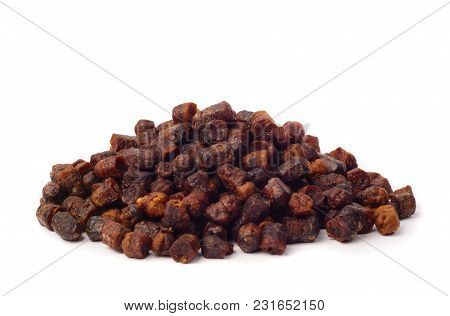 Pile Of Bee Bread Isolated On White Background.natural Remedy For Immunity Enhancement. Beekeeping P