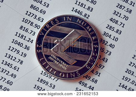Litecoin Cryptocurrency, Blockchain Technology Decentralized Currency Coin, Conceptual Image With Se