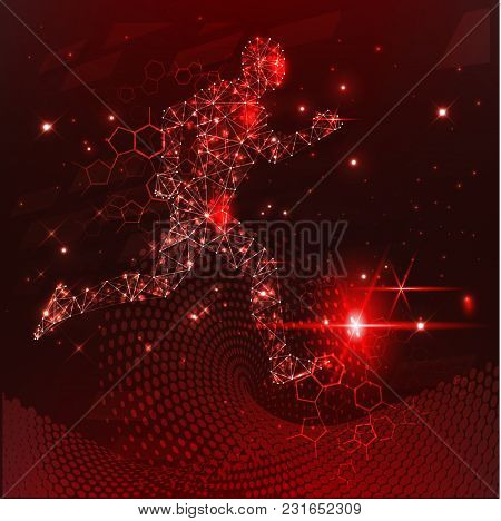 The Image Of A Running Person In A Network, Red Cyber Security Concept Background, Abstract Hi Speed
