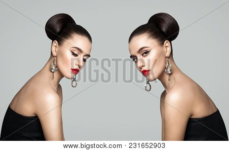 Face To Face. Two Fashion Women With Open Anf Close Eyes