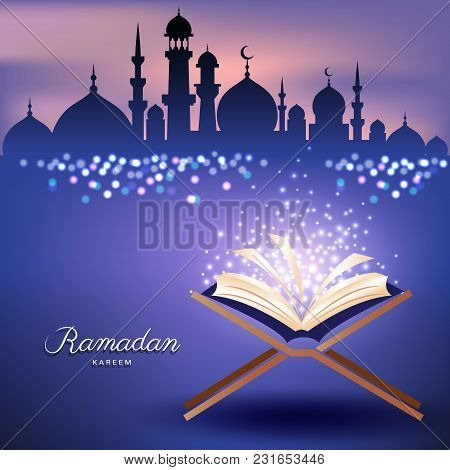 Muslim Quran With Mosque In Sunset Sky And Abstract Candles Light For Ramadan Of Islam