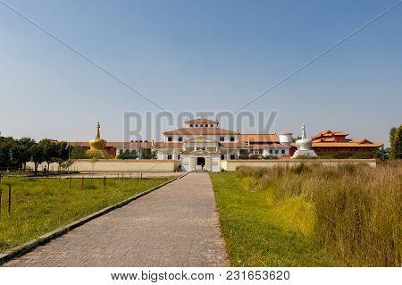 Lumbini, Nepal - November 17, 2016: Geden International Monastery Austria Temple In Lumbini