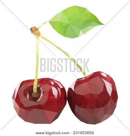 Polygonal Cherry In Vector, Low Poly Style Cherry. Two Cherries