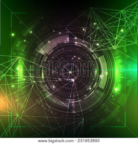 Green Technology Background. Futuristic Vector Illustration. Hud Element. Big Data