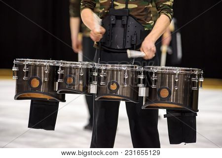Percussion Instrument With Different Tuned Drums That Are Used In Drum Corps And Maching Bands