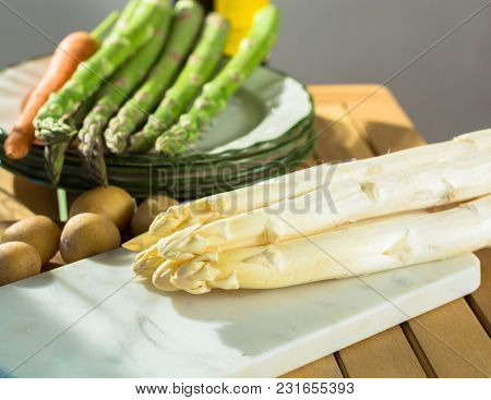 Raw Uncooked Fresh White And Green Asparagus High Quality, Ready To Cook For Dinner Close Up