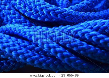 Abstract Blue Background Of A Synthetic Or Nylon Rope