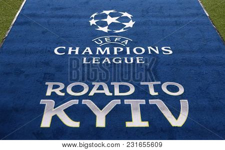 Kharkiv, Ukraine - February 21, 2018: Official Uefa Champions League Final Logo On The Carpet During