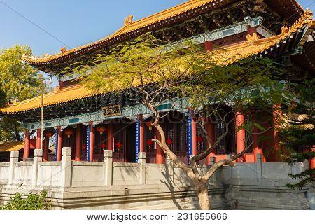Lumbini, Nepal - November 17, 2016: Chinese Buddhist Monastery In Lumbini. Lumbini The Birthplace Of