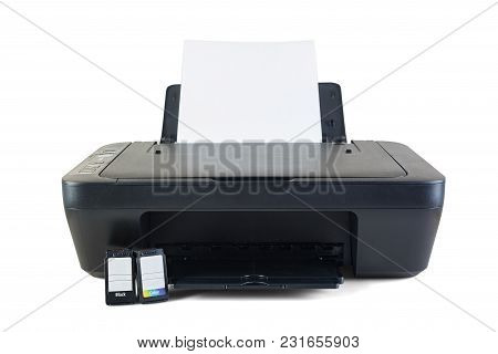 Black Printer And Ink Cartridges Isolated On White Background