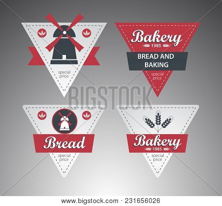 Set Of Creative Bakery Labels. Business Use. Vector