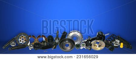 Spare Parts Car On The Blue Background Set. Many Auto Parts Are Located On The Edge Of The Image. Oe