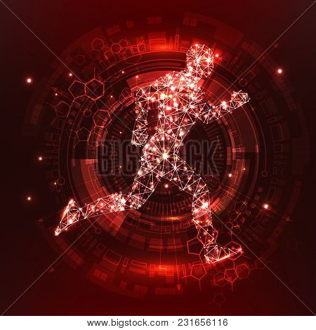Futuristic Red Infographics As Head-up Display. Human Body. Futuristic Abstract 3d Visualization. Ru