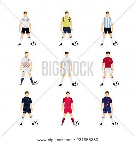 Various Football Jersey National Team Group World Cup Vector Illustration Graphic Design Set