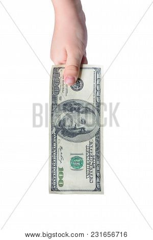 Photograph Of A Small Boy With American Dollars Isolated On A White Background