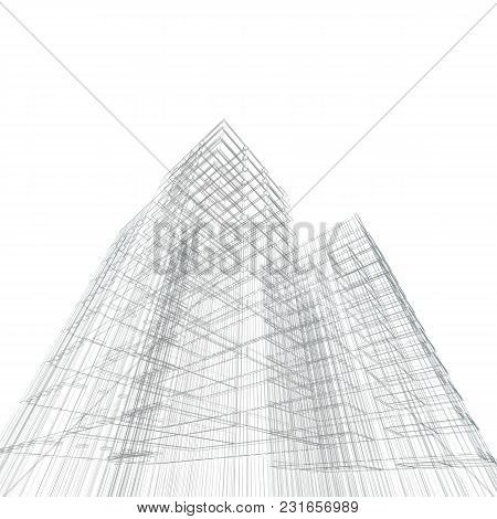 Architecture Blueprint. Design And 3d Rendering Model My Own