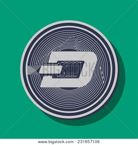 Coin Of Crypto Currency Dashcoin, Drawn In Vector