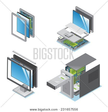 Isometric Modern Devices And Gadgets Set With Parts And Components Of Tablet Laptop Computer Monitor