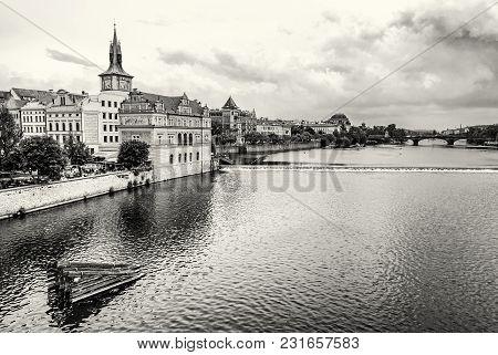 Old Historical Town Prague With Vltava River From Charles Bridge, Czech Republic. Travel Destination