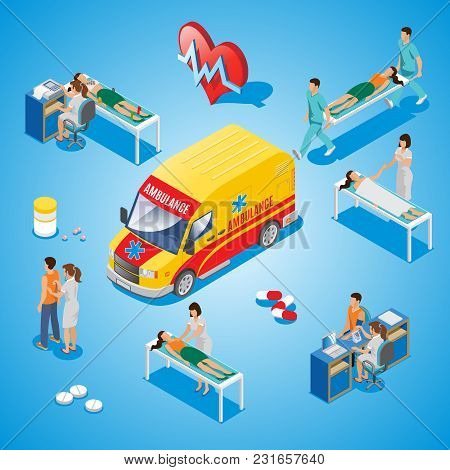 Isometric Medical Care Composition With Ambulance Doctor Cardiologist Treats Patients And Perfoms Di