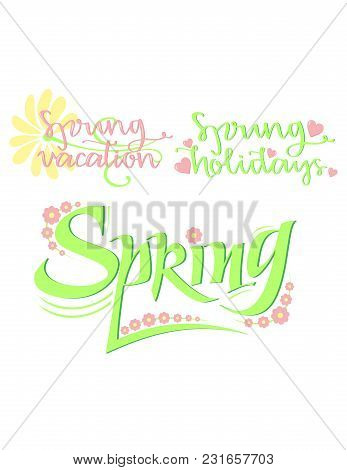 Bright Typographic Spring Inscriptions Collection With Colorful Calligraphic Letterings Flowers And